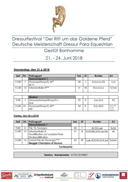 Zeiteinteilung für das Dressurturnier & Deutsche Meisterschaften Para Equestrian